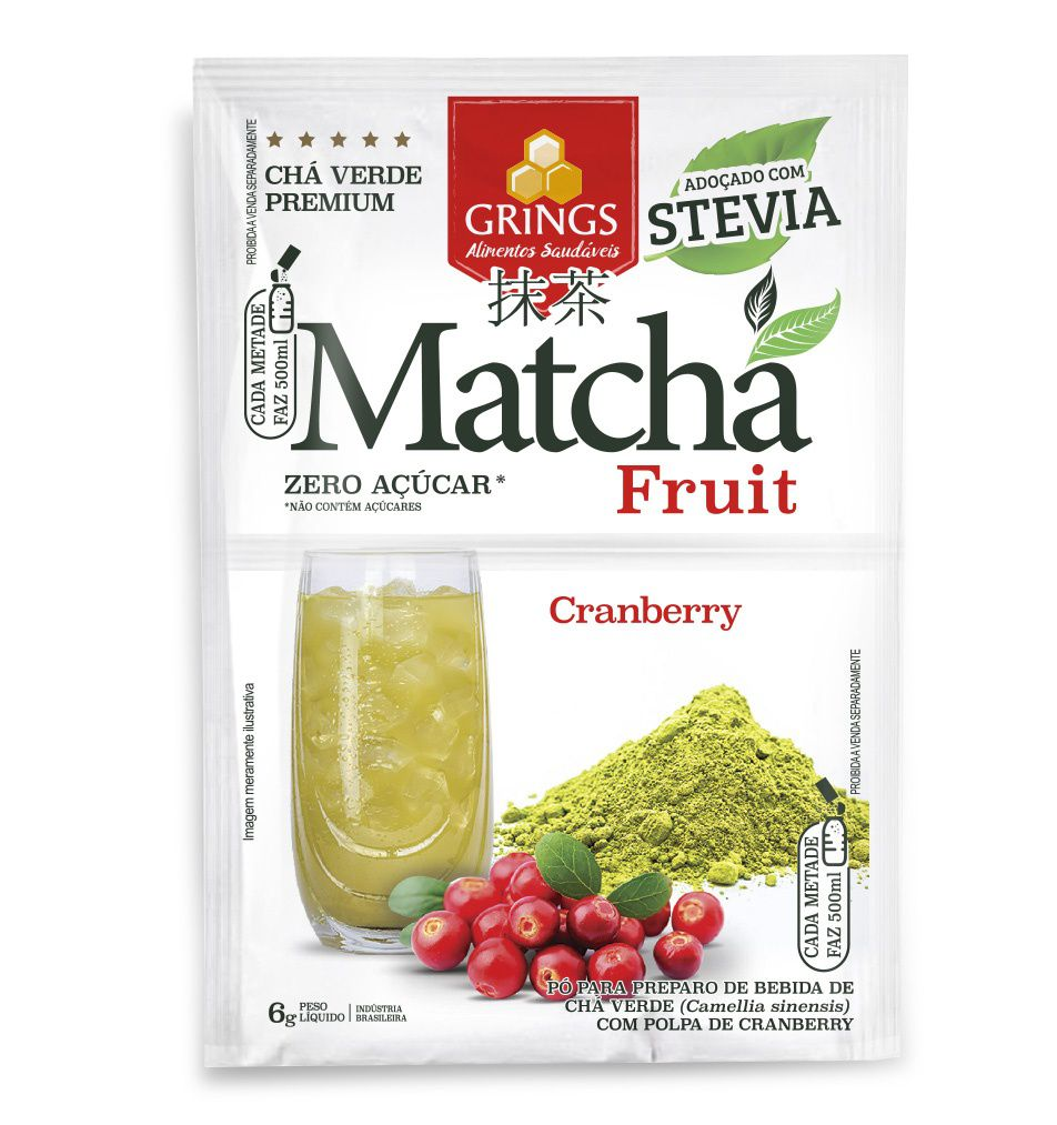 Chá Verde integral Solúvel Matcha fruit Cranberry 7g