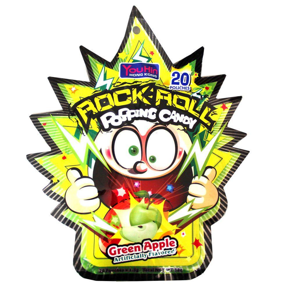 Bala explosiva sabor Maçã Verde - Popping Candy Rock Roll 30g