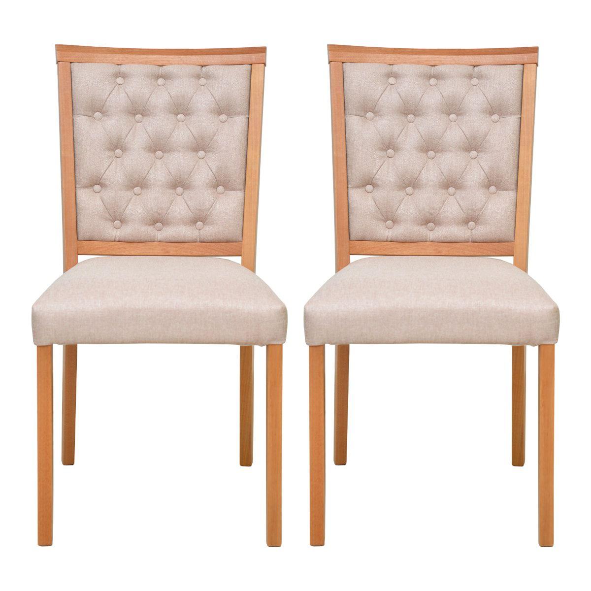 Conjunto Cadeiras Débora Capitonê Linho Bege