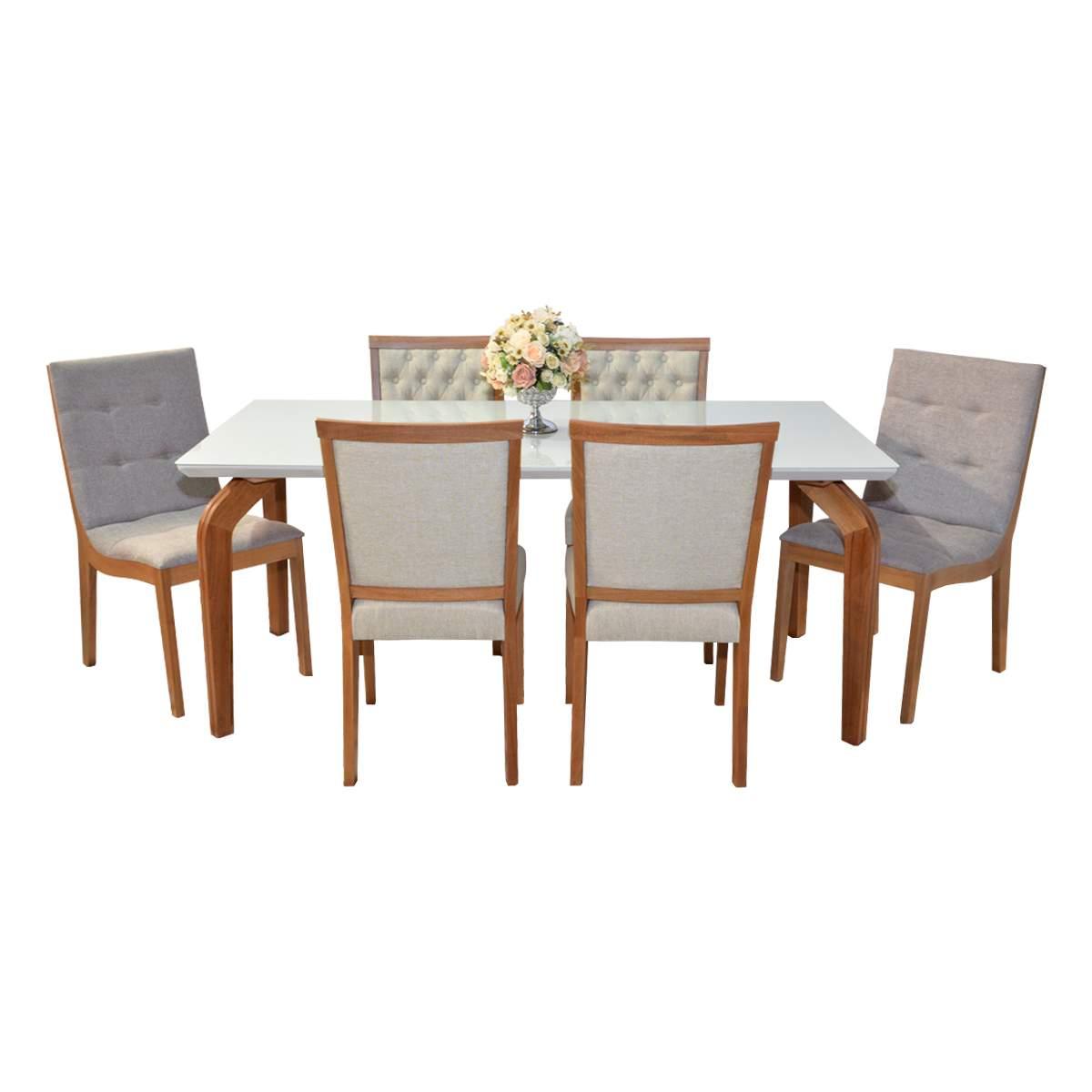 Mesa De Jantar Ana 180x90 Com 04 Cadeiras Débora Capitonê e 02 Cadeiras Camila