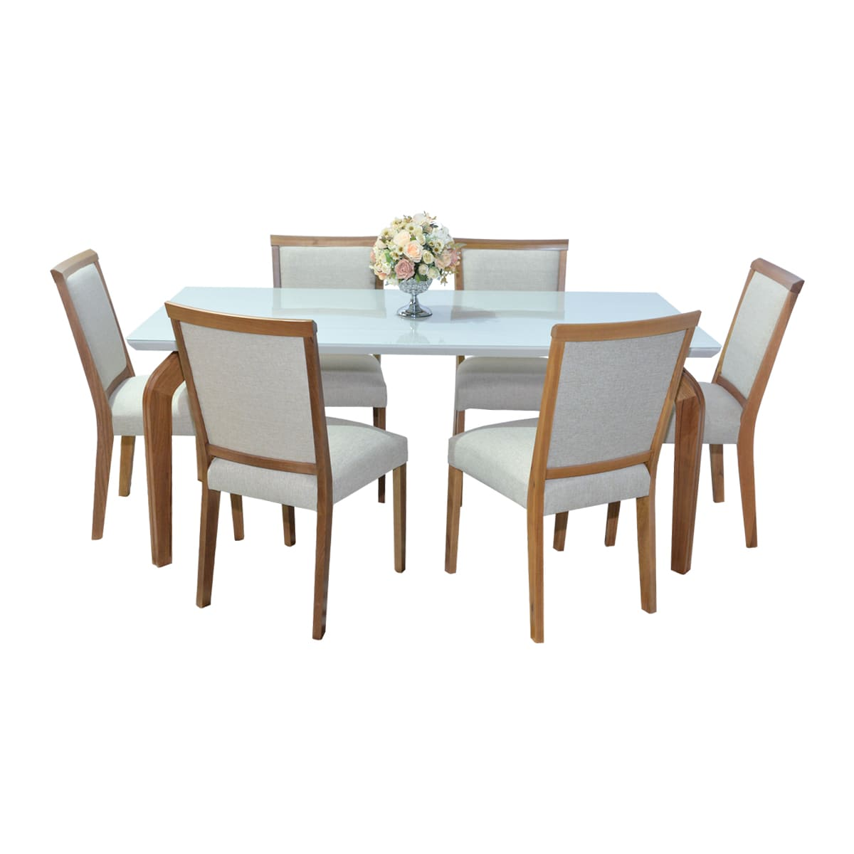 Mesa De Jantar Ana 180x90 Com 06 Cadeiras Débora Linhão Bege