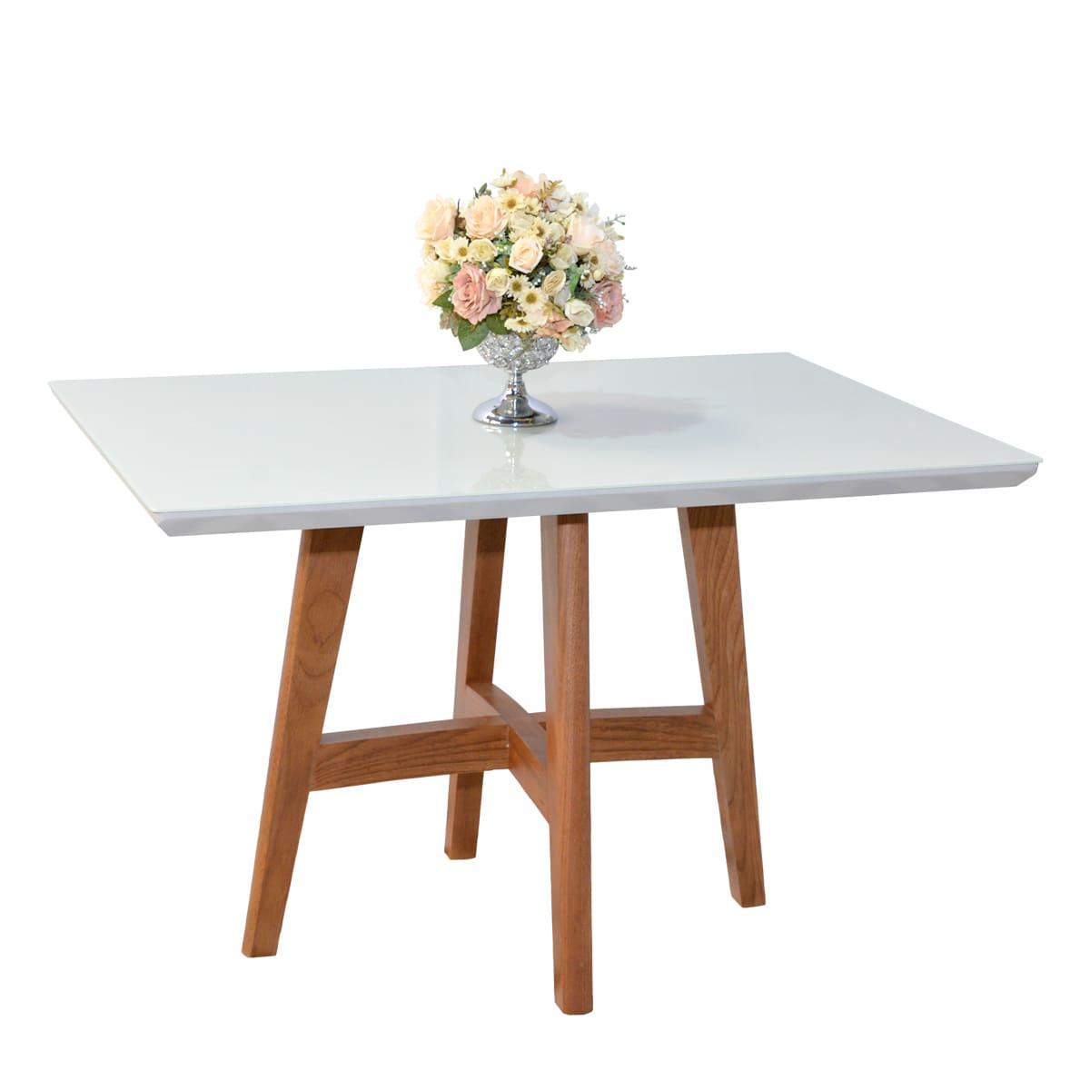 Mesa De Jantar Lara 120x80 Com 04 Cadeiras Júlia Off White
