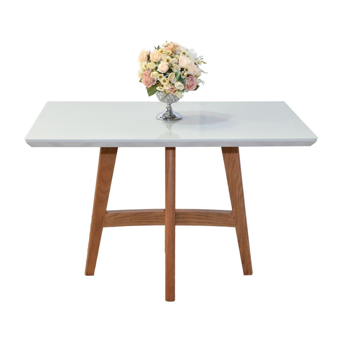 Mesa De Jantar Lara 120x80 Com 04 Cadeiras Rúbia Linho 02