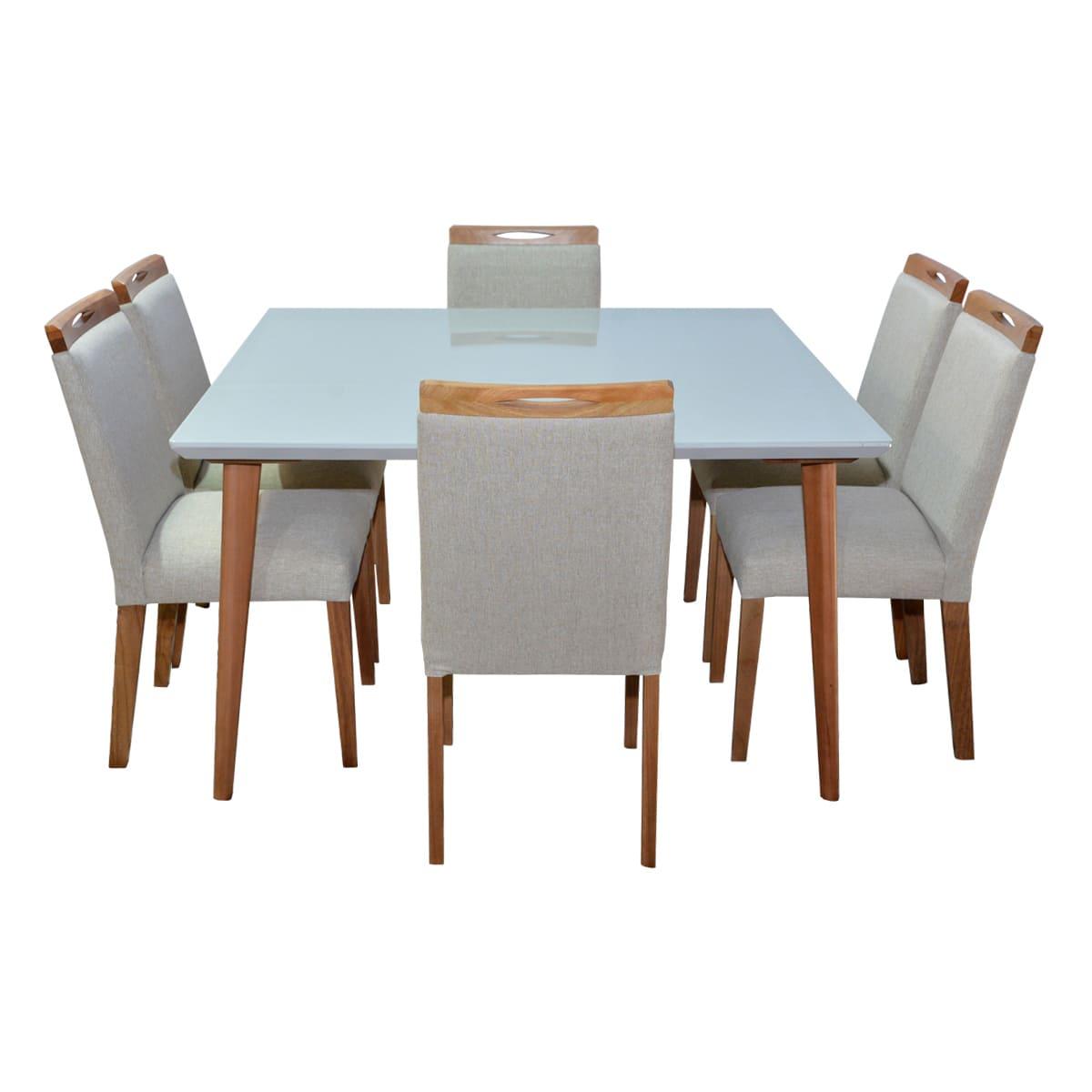 Mesa De Jantar Vitória 135x135 Com 06 Cadeiras Lara Linhão Bege