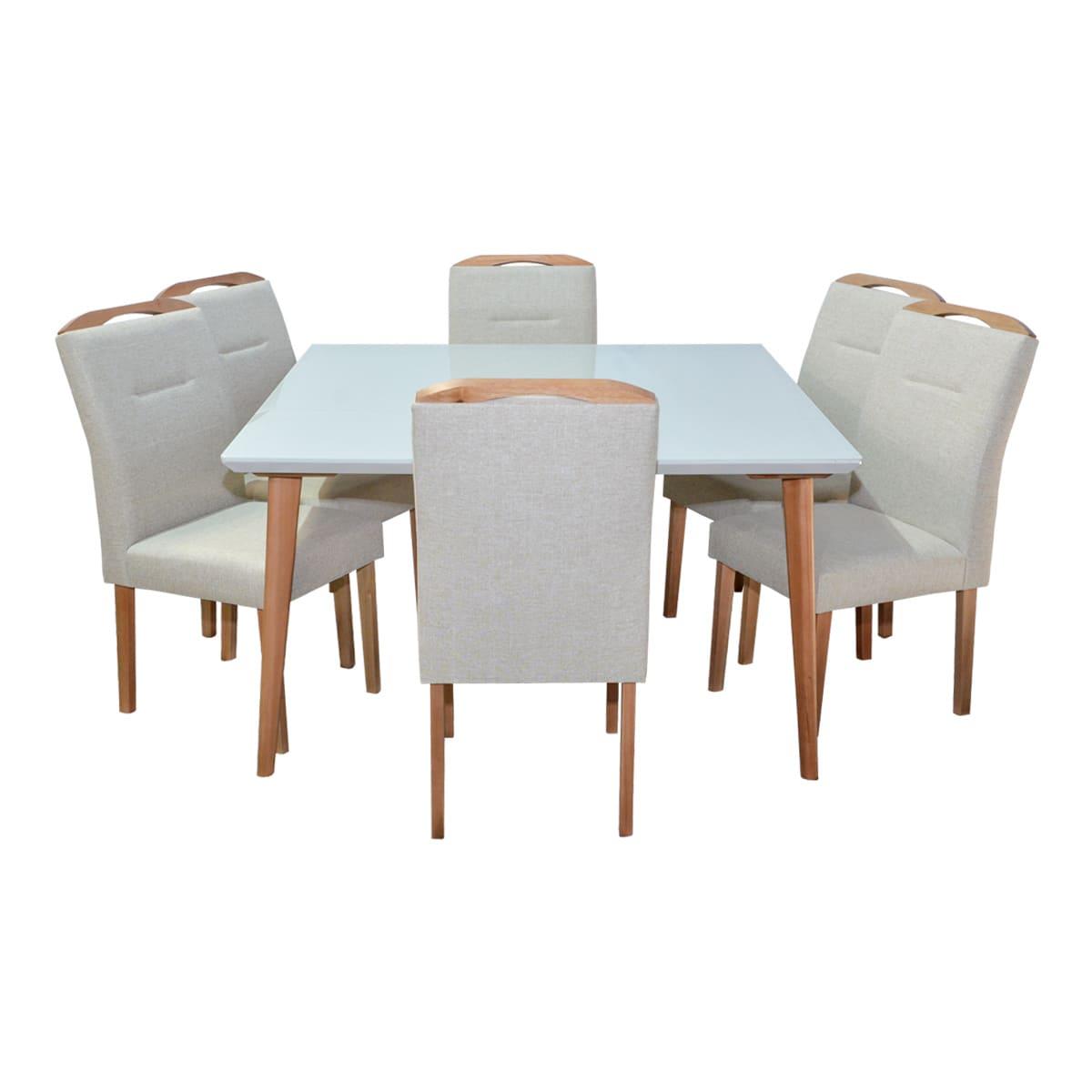 Mesa De Jantar Vitória 135x135 Com 06 Cadeiras Luna Linhão Bege