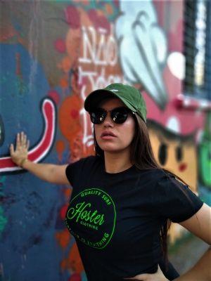 Camiseta Feminina Preta Baby Look HOSTER Neon Surfing