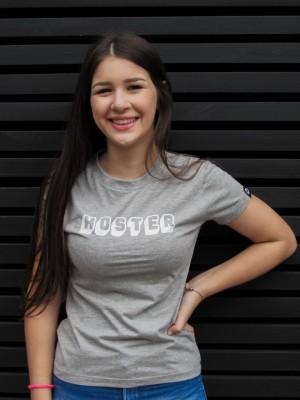 Camiseta Feminina Baby Look HOSTER 3D Cinza Mescla