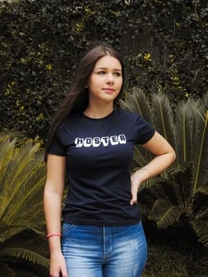 Camiseta Feminina Baby Look HOSTER 3D Preta