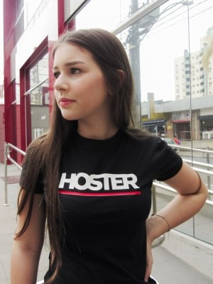 Camiseta Feminina Baby Look HOSTER Back Side Preta