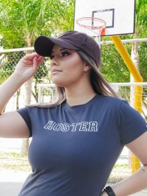 Camiseta Feminina Baby Look HOSTER College Cinza Chumbo