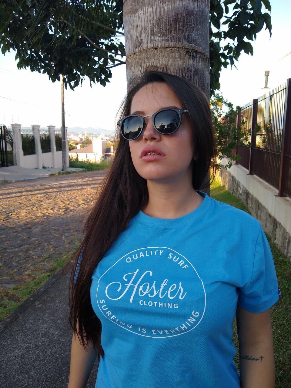 Camiseta Feminina Azul Baby Look HOSTER Surfing
