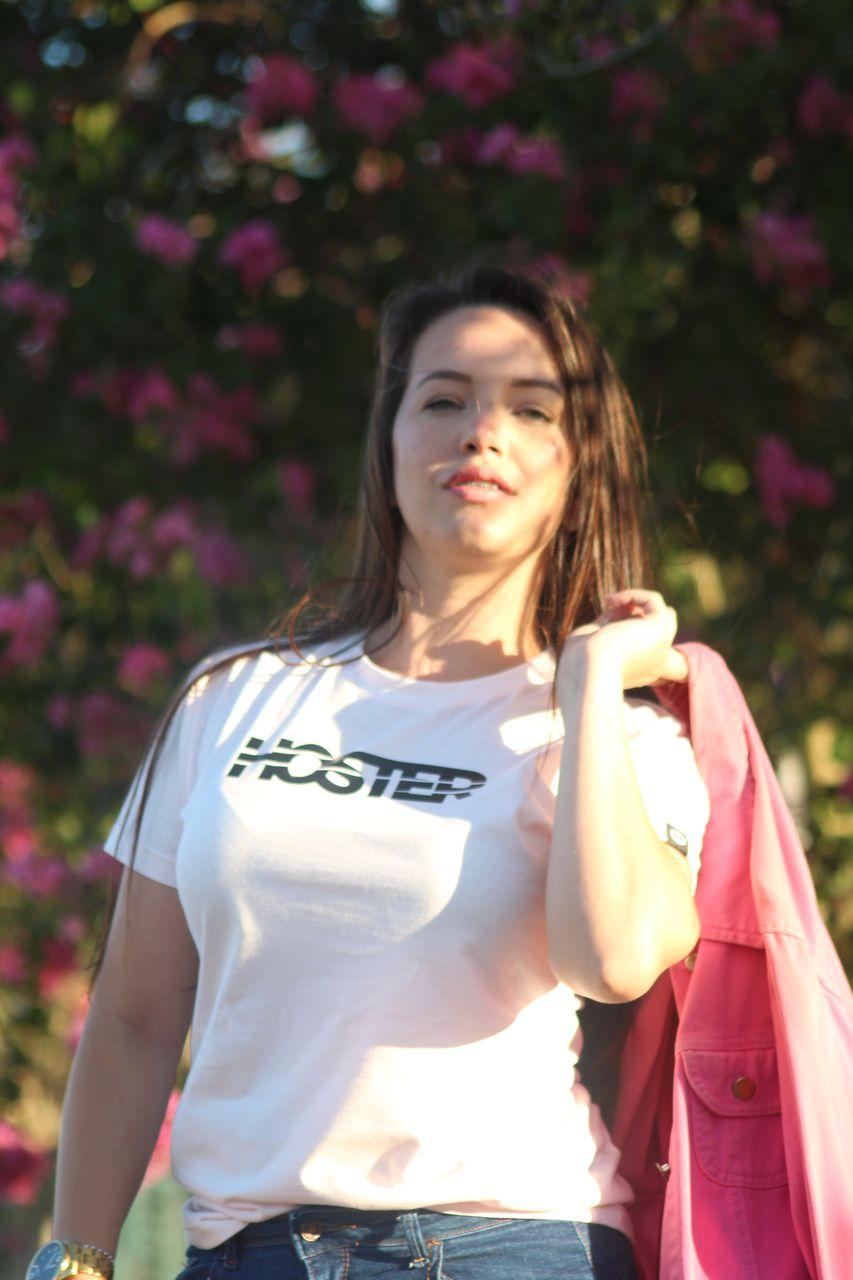 Camiseta Feminina Rosa Baby Look HOSTER Swell New