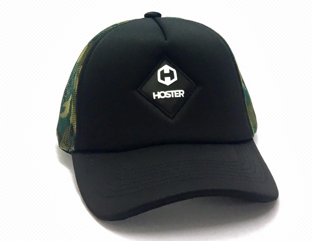 Boné de Télinha Snapback Preto/Camuflado Trucker HOSTER