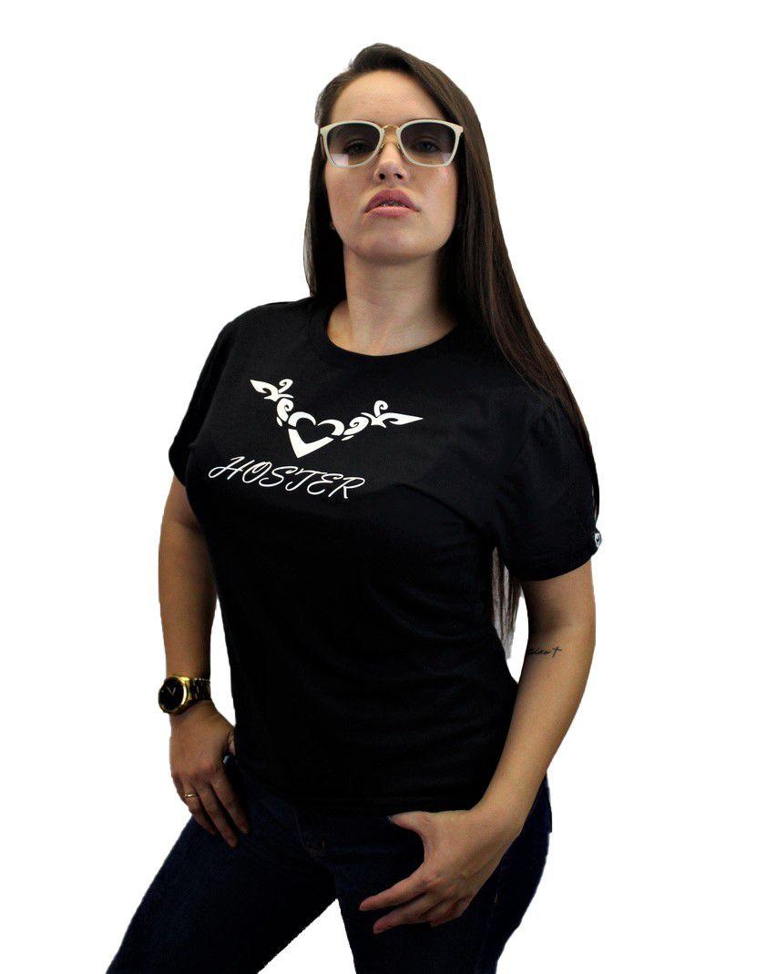 Camiseta Feminina Preta Baby Look HOSTER Nature