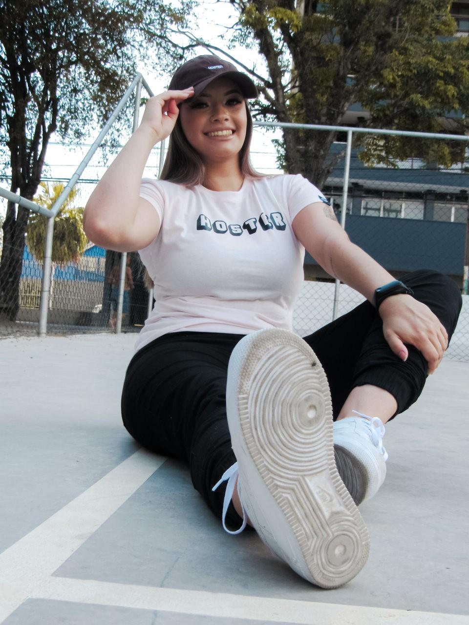Camiseta Feminina Baby Look HOSTER 3D Rosa