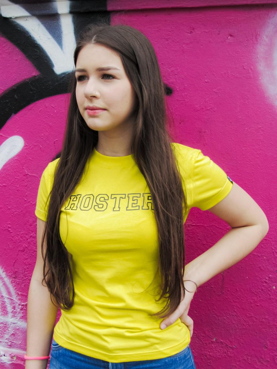 Camiseta Feminina Baby Look HOSTER College Amarela