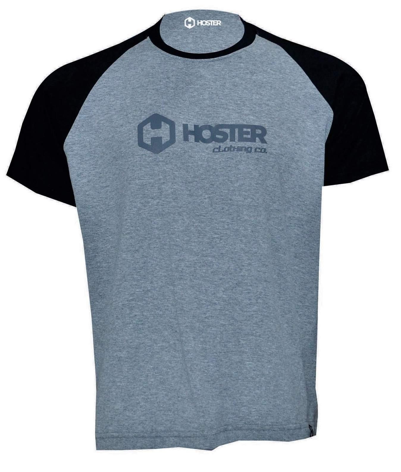 CAMISETA HOSTER CLOTHING RAGLAN CINZA MESCLA/PRETO