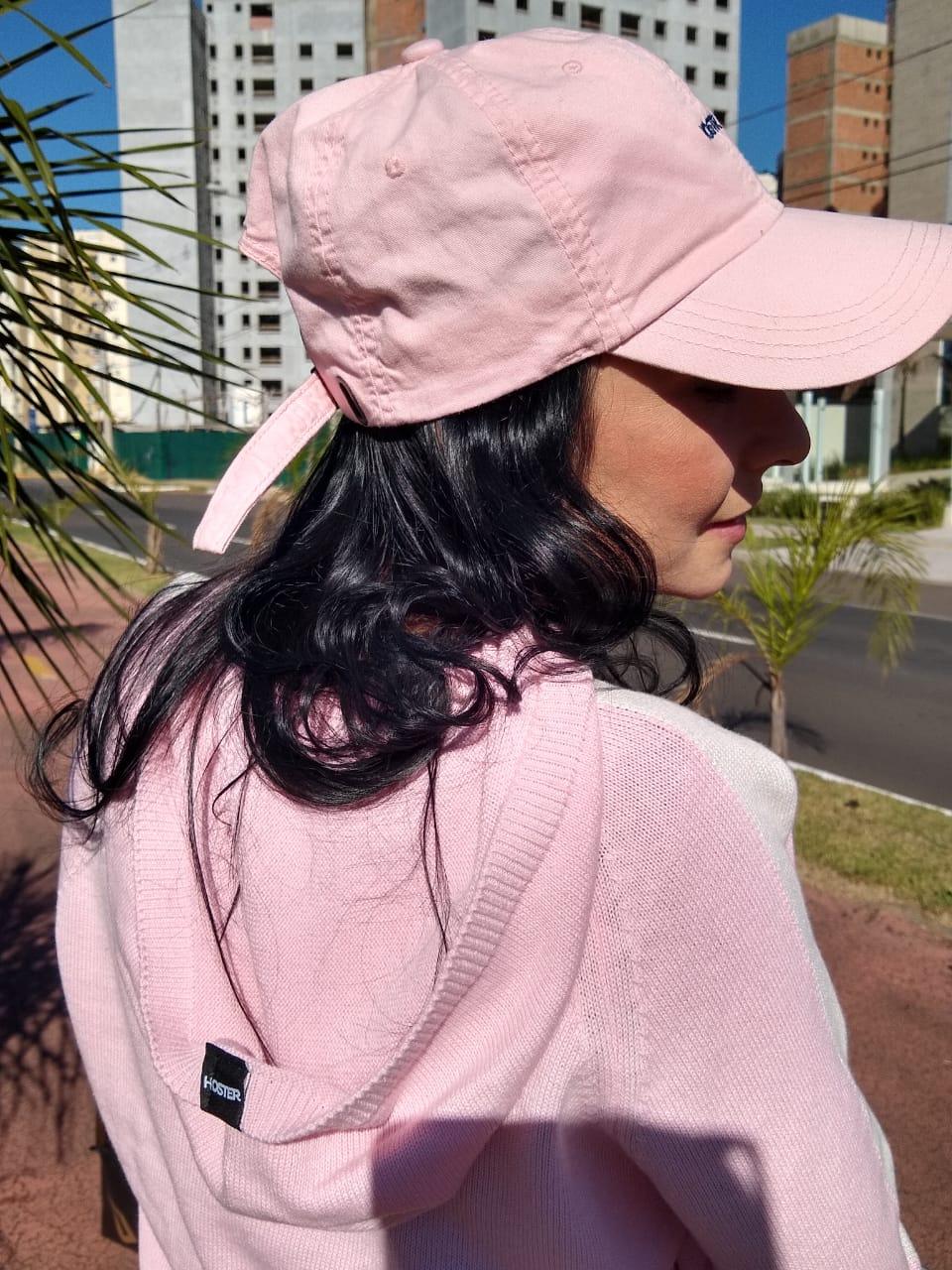 Suéter Blusão Feminino Rosa Hoster Manga Longa com Capuz