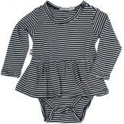 Body vestido bebê listras algodão