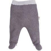 Calça bebe tricot zigzag cinza com pezinho