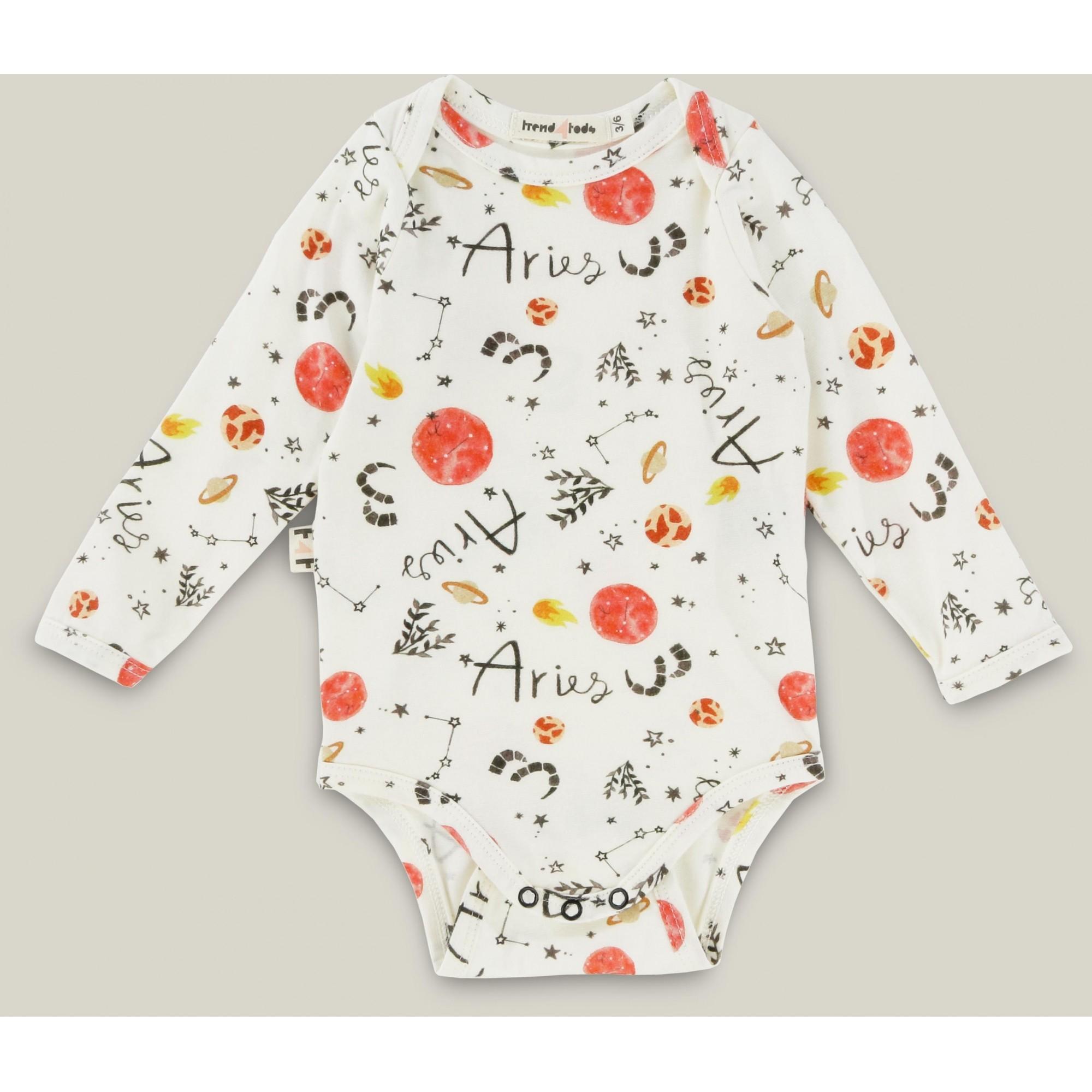 Body bebê manga longa signo Áries