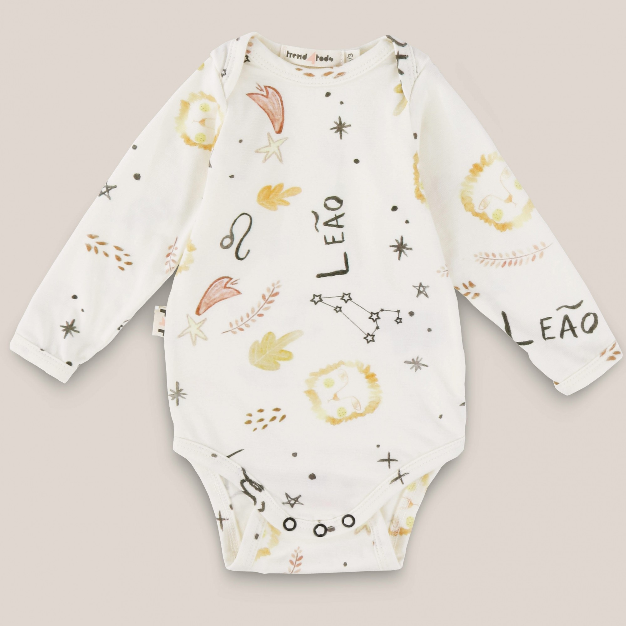 Body bebê manga longa signo Leão