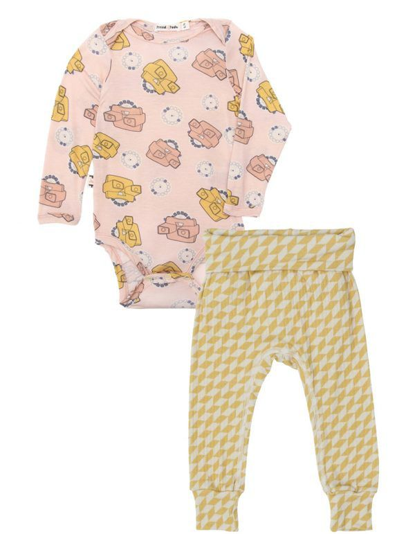 Body Manga longa bebê rosa view master micromodal