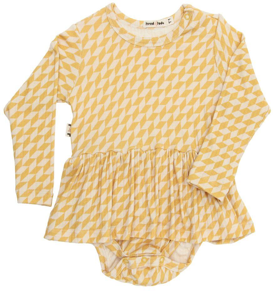 Geo amarelo Body vestido bebê manga longa