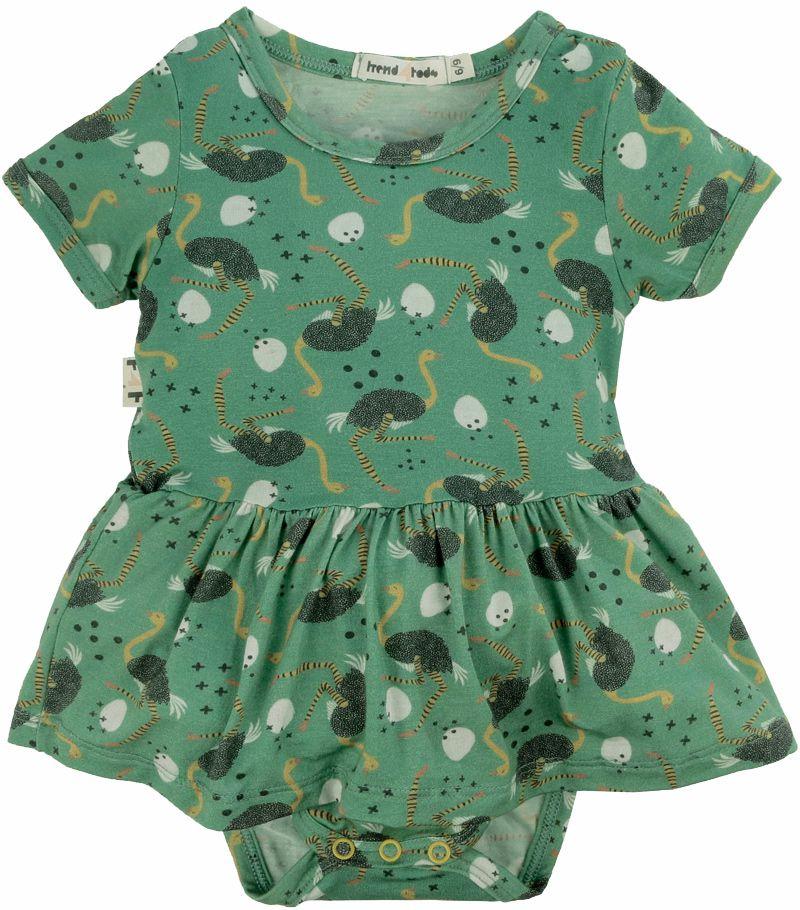 Body vestido bebê micromodal avestruz