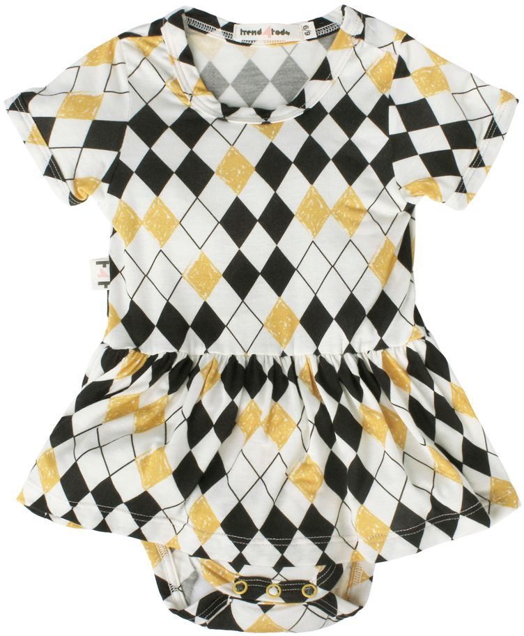 Body vestido bebê micromodal losango