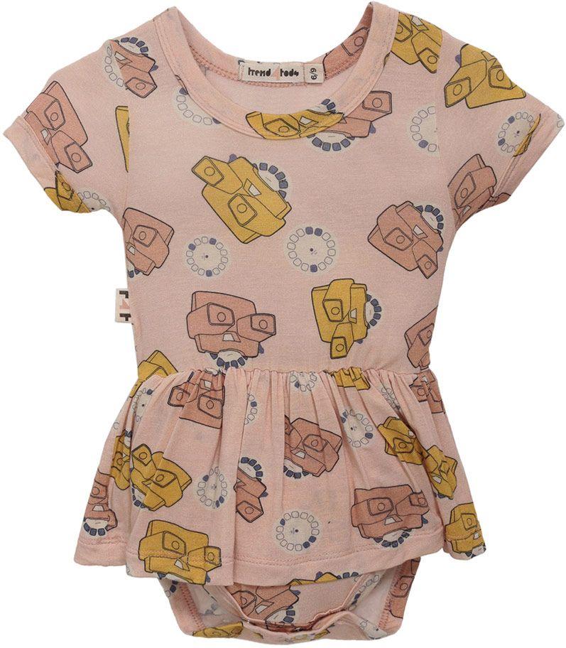 Body vestido bebê rosa view master micromodal