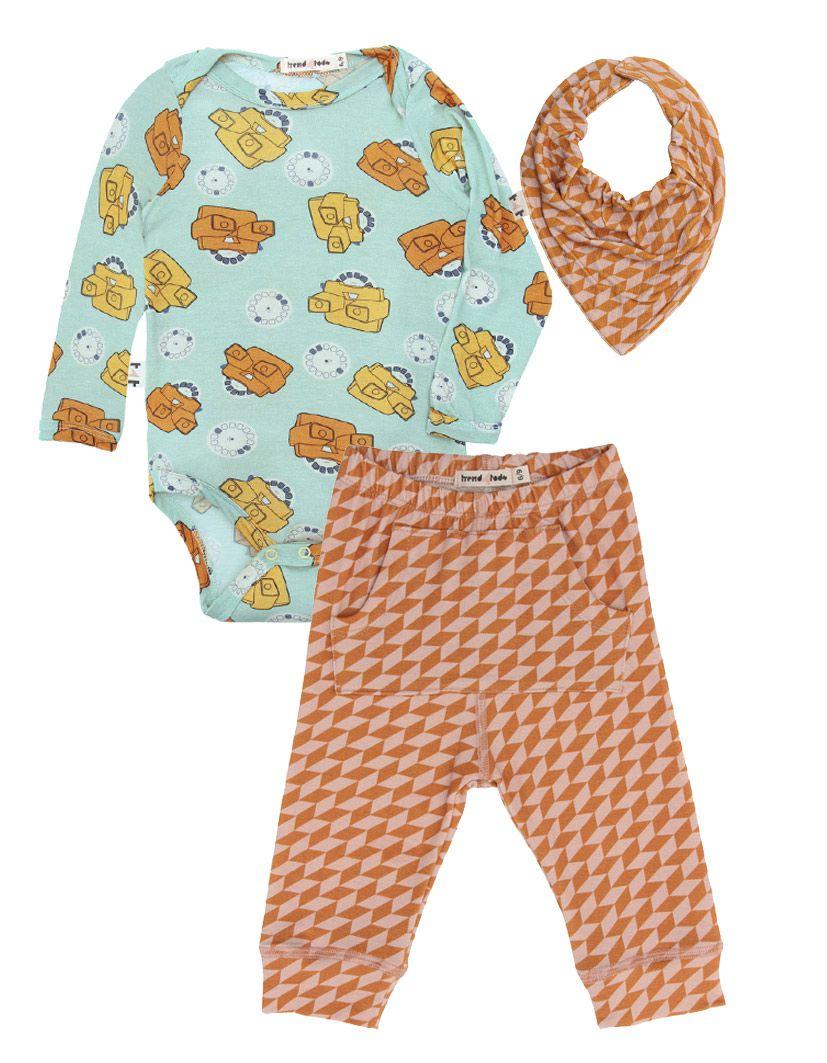 Calça Bebê Laranja Geométrico