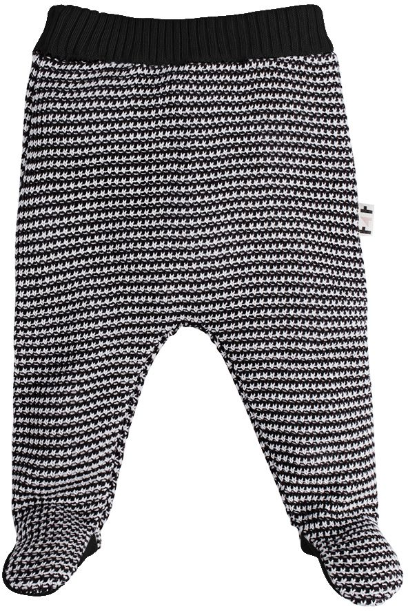Calça bebe tricot zigzag Preta e branca com pezinho