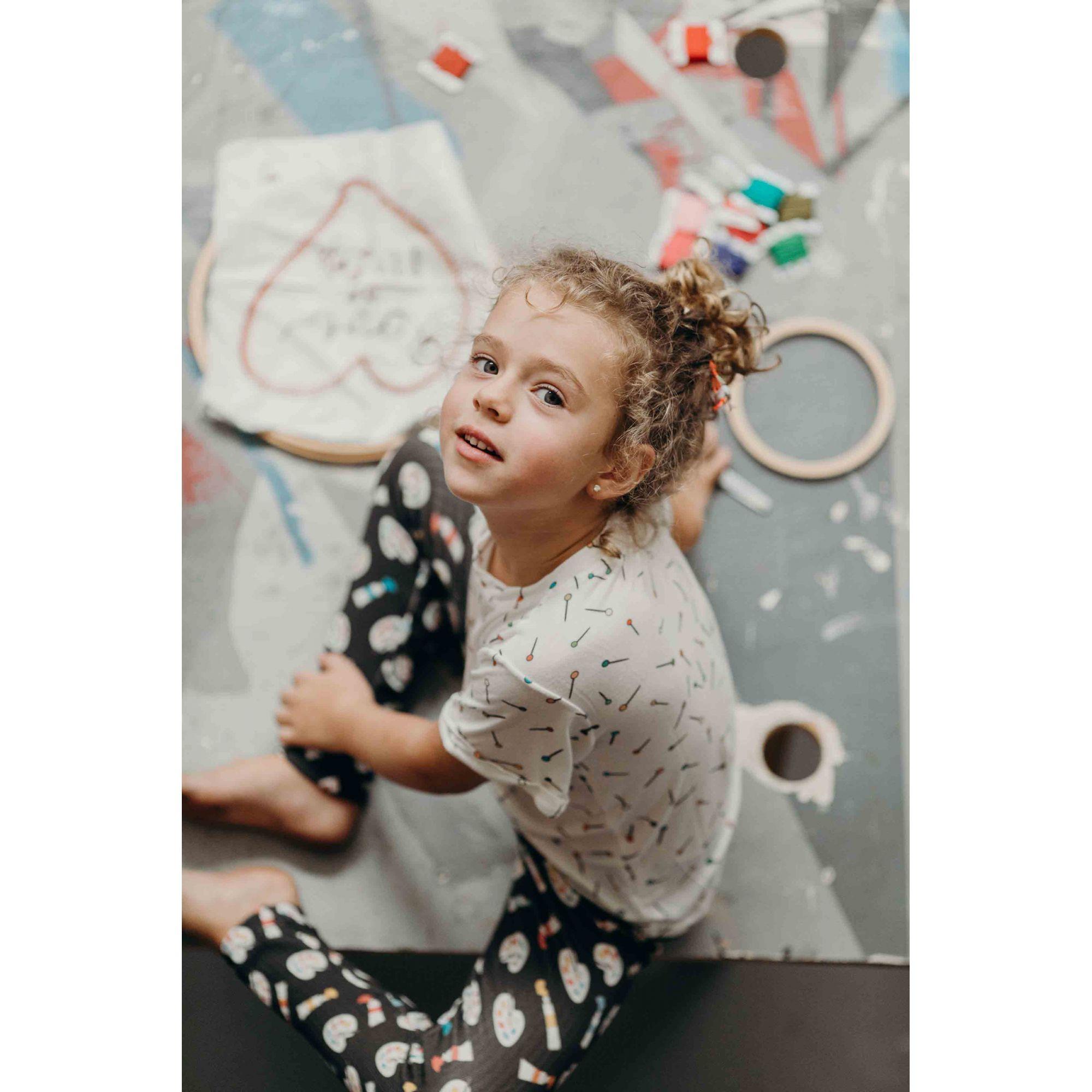 calça legging infantil aquarela