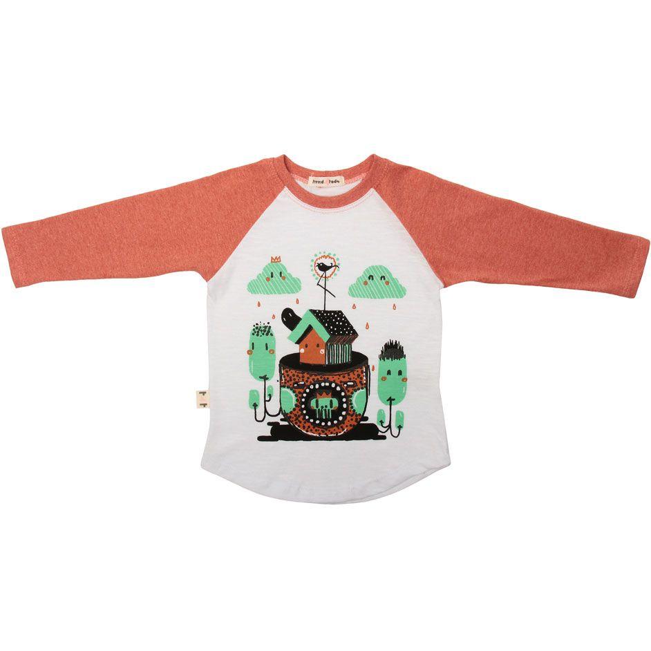 Camiseta infantil raglan casinha
