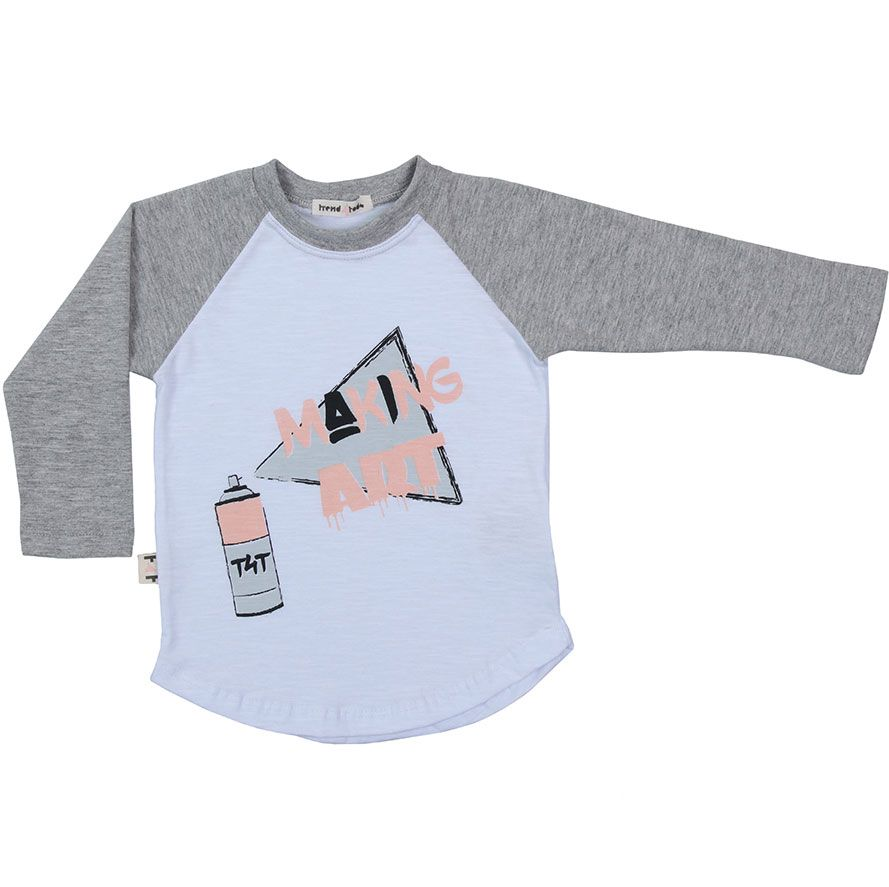 Raglan Camiseta Infantil Mescla e Branco
