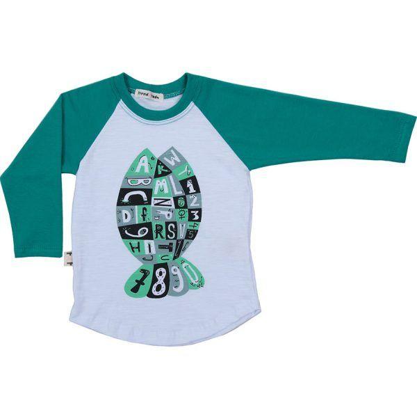 Camiseta infantil raglan peixe