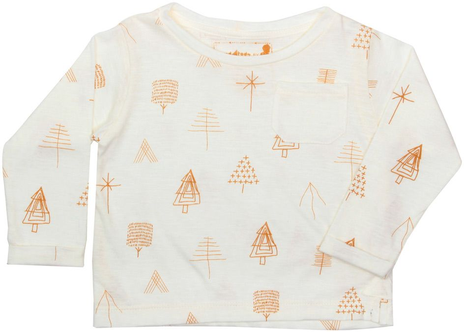 Camiseta infantil Manga Longa off white Trees