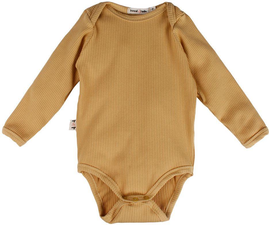 Mostarda body bebê manga longa canelado eco