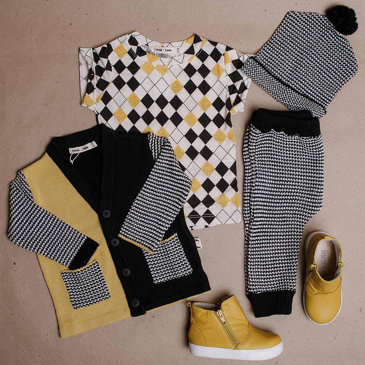 Tricot Cardigan infantil bicolor amarelo