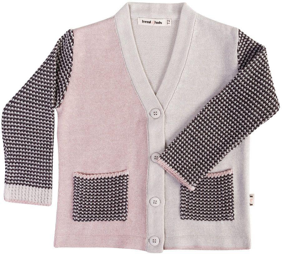 Tricot Cardigan infantil bicolor rosa