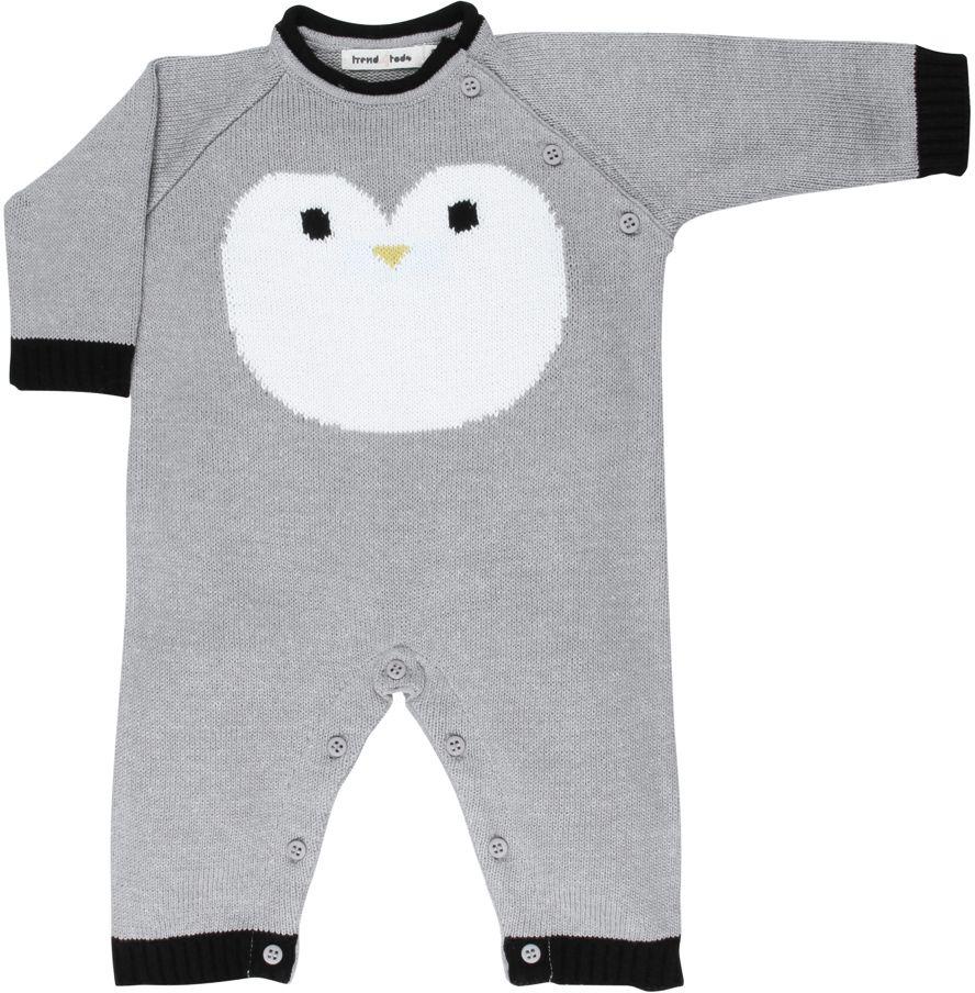Tricot macacão bebê pinguim cinza