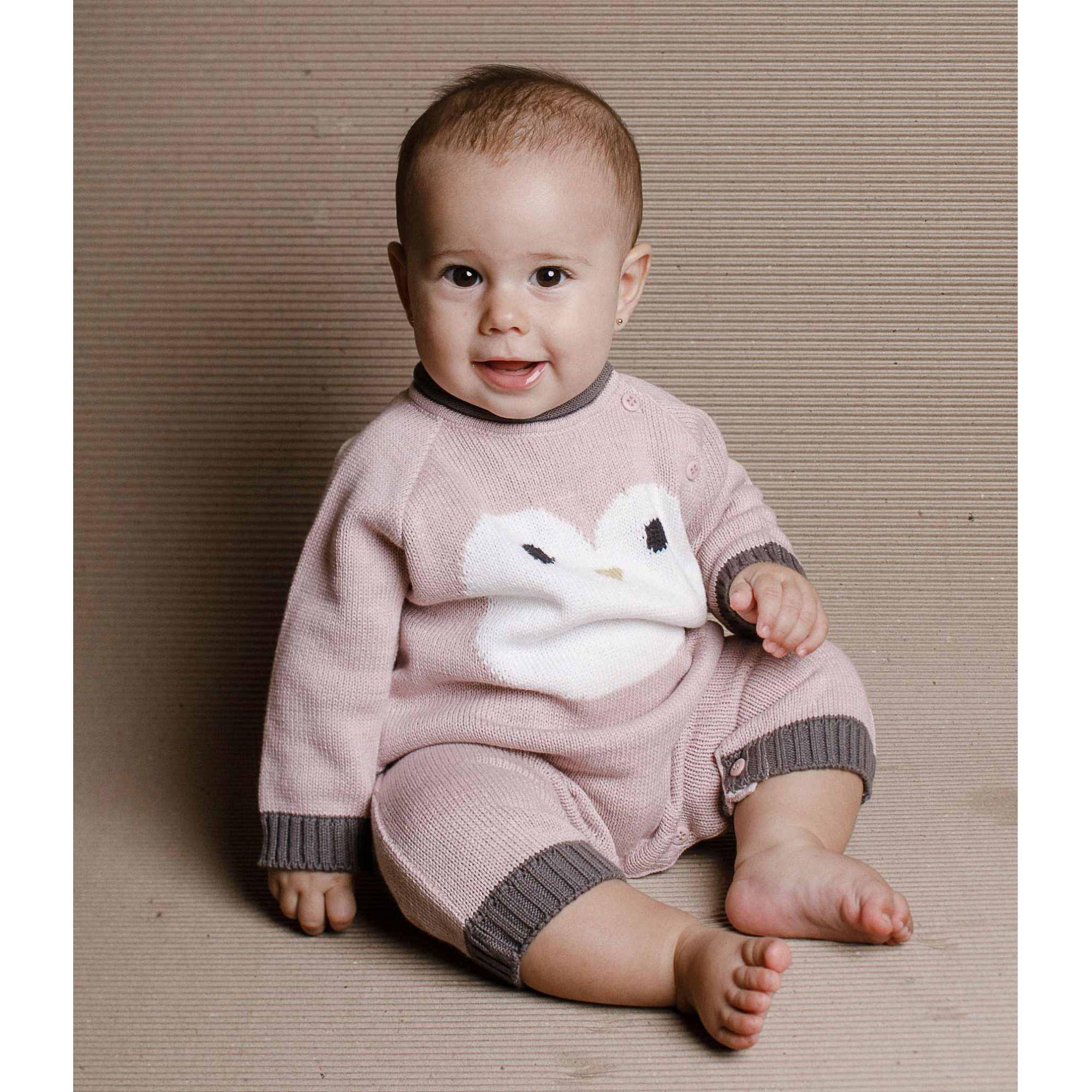 Tricot macacão bebê pinguim rosa