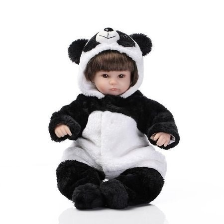 17d6f0c3817ae8 Boneca Bebê Reborn Menina Fantasia Urso Panda Linda Criança