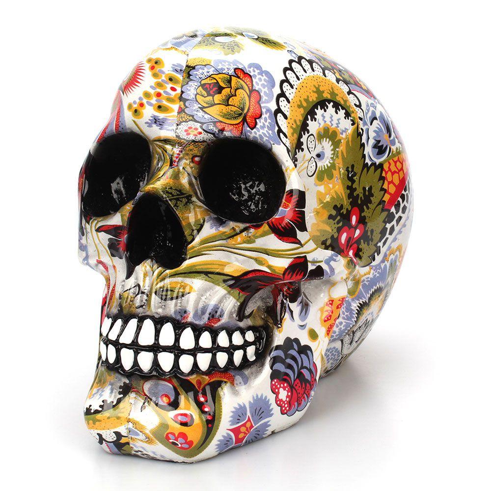 Flor Colorida Pintura Desenho Caveira Mexicana Cabeca Cranio