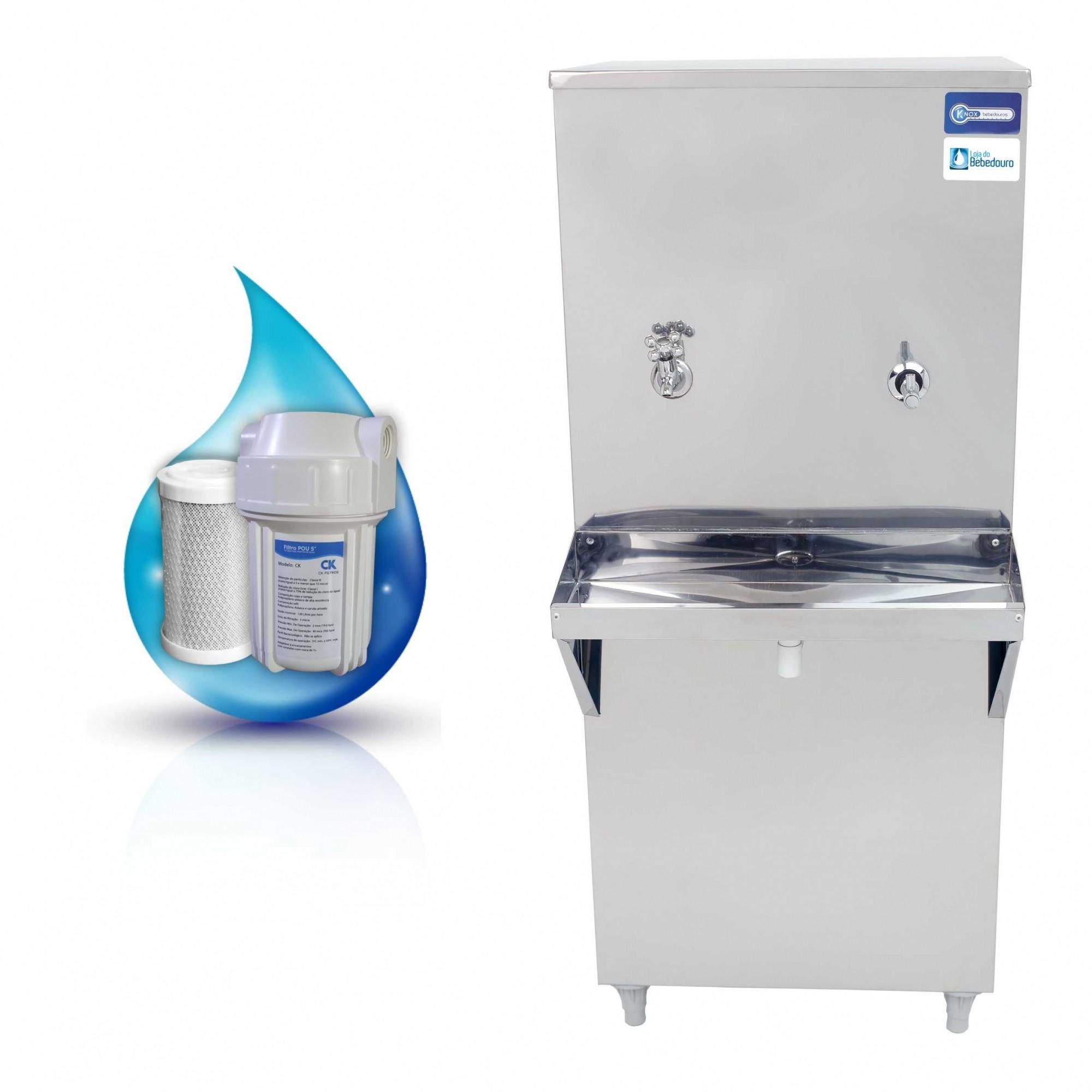 Bebedouro de Água Industrial 50 Litros de Coluna Knox Bebedouros + Filtro