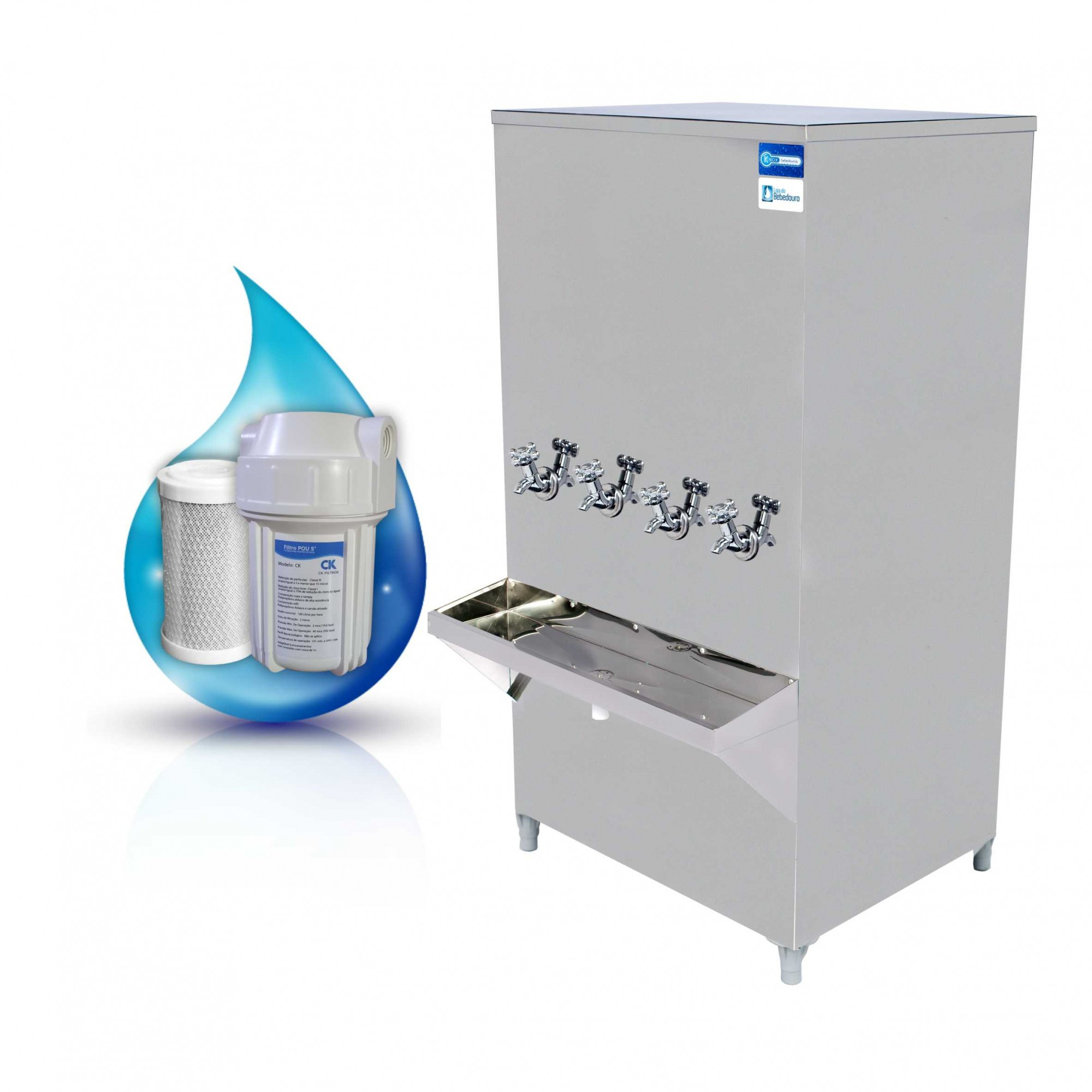 Bebedouro de Água Industrial Coluna 200 Litros Knox Bebedouros + Filtro