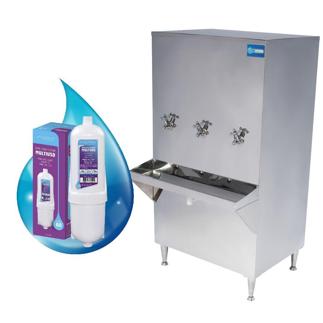 Bebedouro de Água Industrial Coluna 200 Litros Knox Bebedouros + Kit Instalação e Filtro