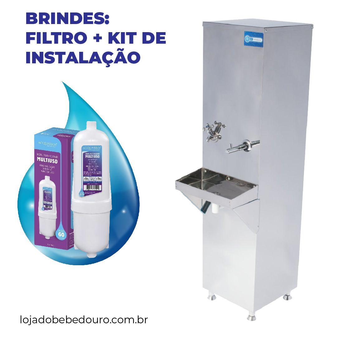 Bebedouro Industrial 25 Litros de Coluna Knox Bebedouros + Kit Instalação e Filtro