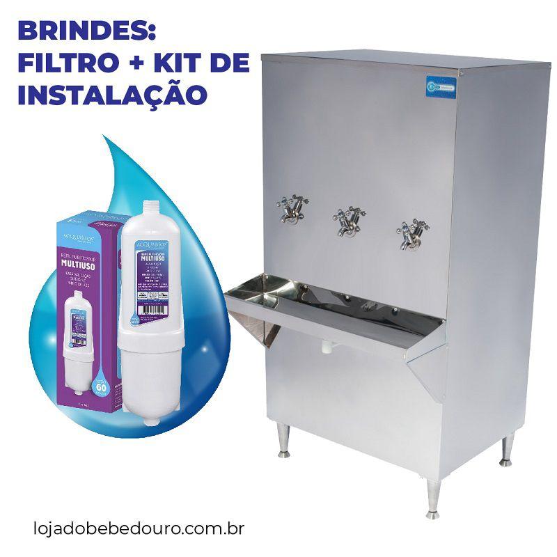 Bebedouro Industrial Coluna 200 Litros Knox Bebedouros + Kit Instalação e Filtro